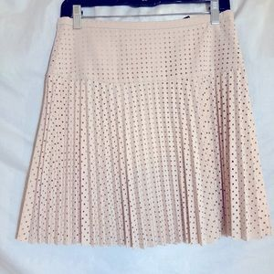 J Crew Laser Cut Pleated Skirt Cream NWT Size 2